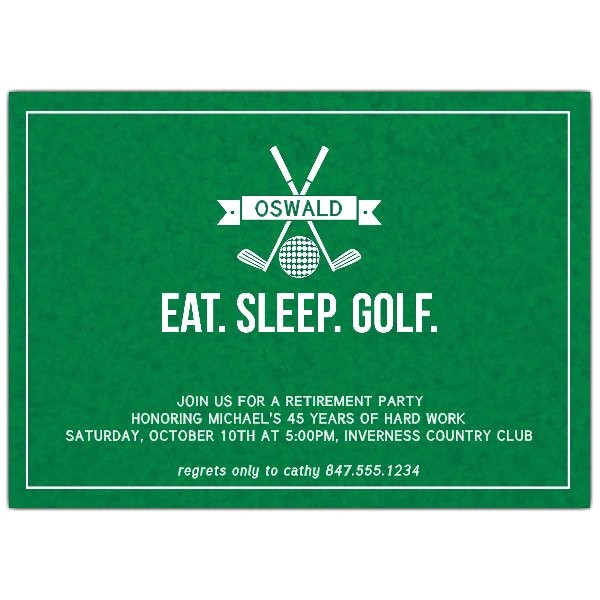 Golf Retirement Party Invitations Eat Sleep Golf Retirement Party Invitations Paperstyle