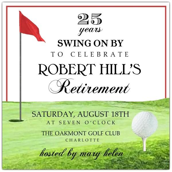 golf tee retirement invitations p 603 55 24254 r