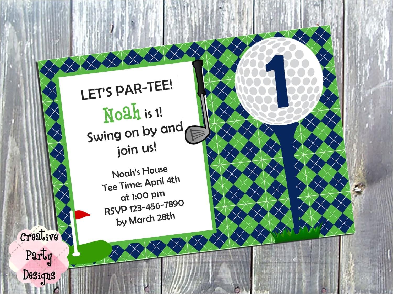 baby golf birthday invite golf themed