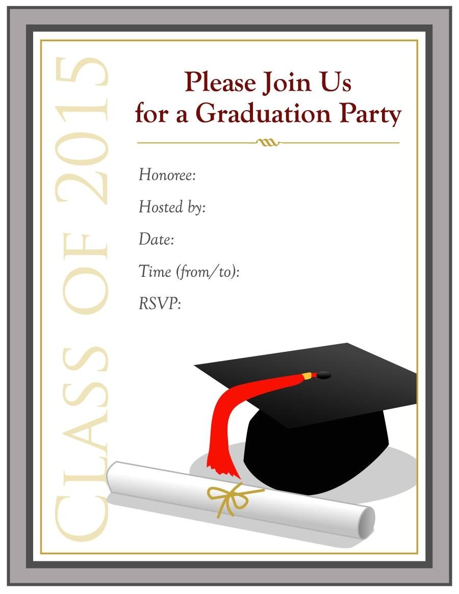 Grad Party Invites Templates 40 Free Graduation Invitation Templates Template Lab