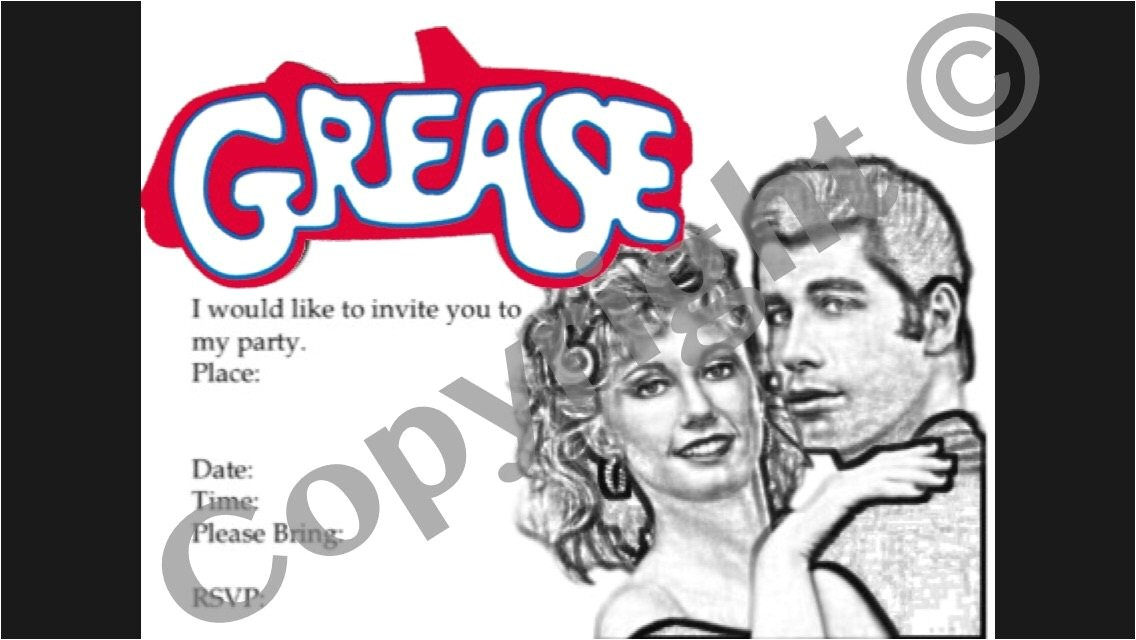 grease party invitation instant download