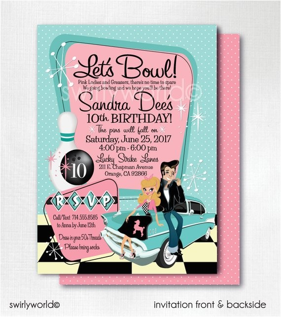 pink lady grease birthday invitations