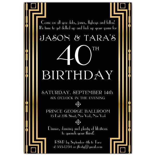 gatsby gold couples birthday invitations p 608 57 504