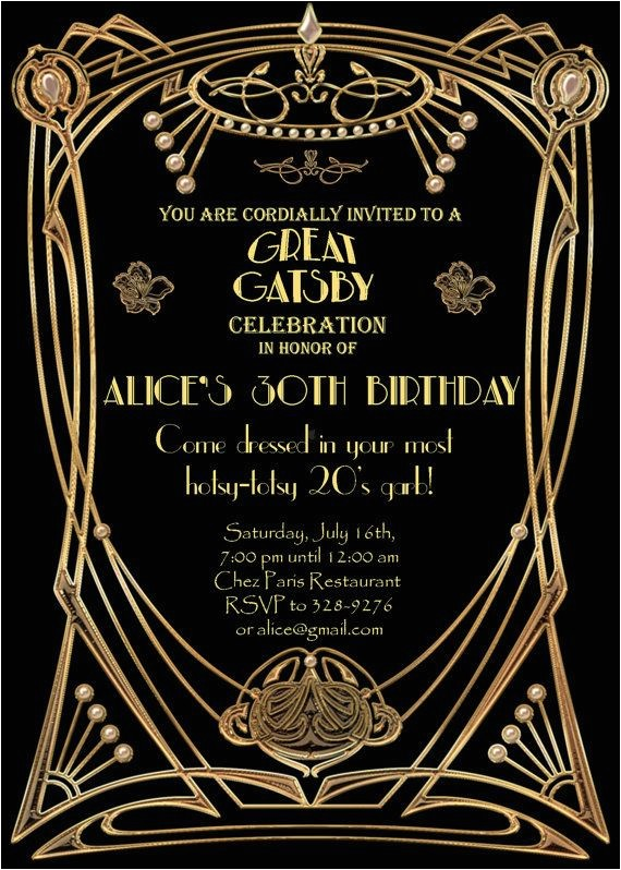 great gatsby party invitations