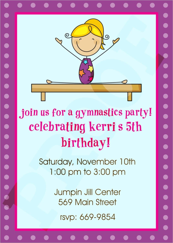 gymnastics party gymnastics invitation