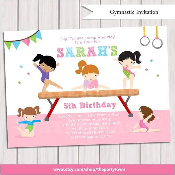 gymnastic birthday invitation printable