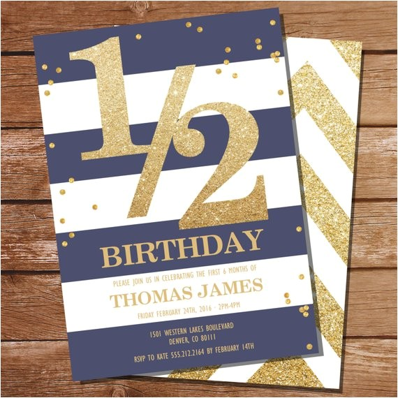 half birthday invitation gold glitter