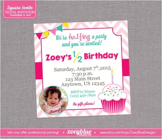 half birthday invitation girl cupcake 6