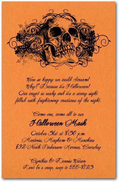 grunge skull on orange