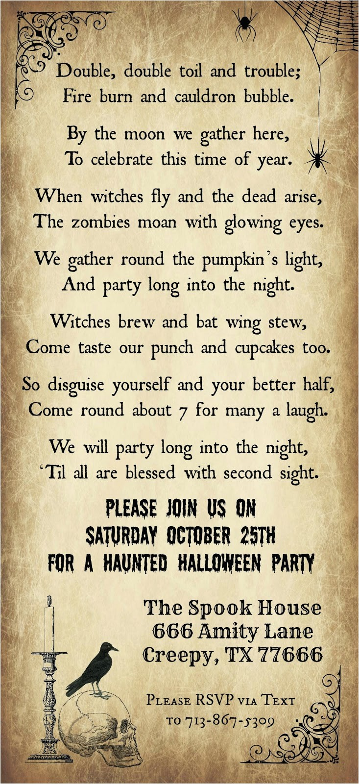 Halloween Party Poem Invite Crafty In Crosby Halloween Party Invitation 2014