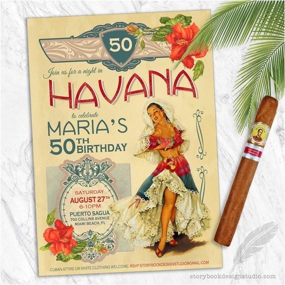 havana nights birthday party invitations cuba