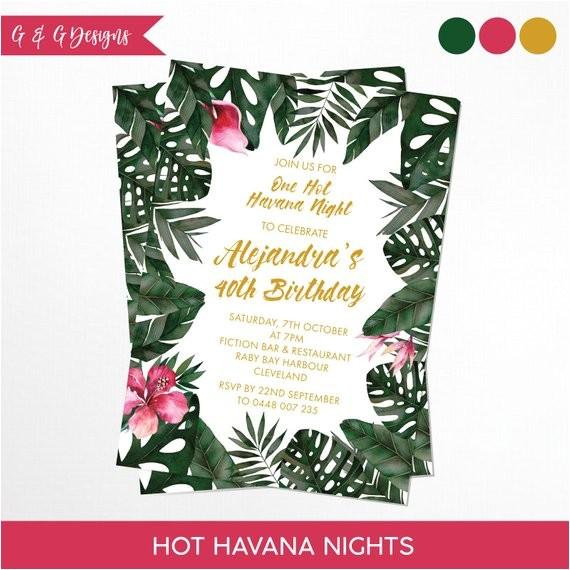 havana nights tropical birthday invitation printable