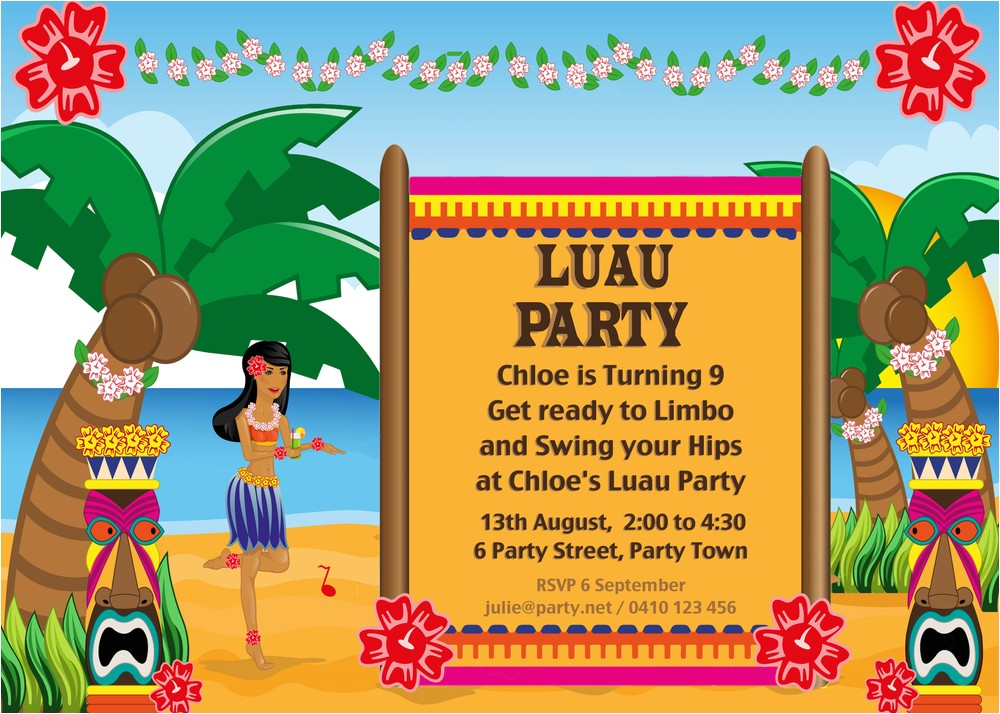 hawaiian luau party with desert table and games