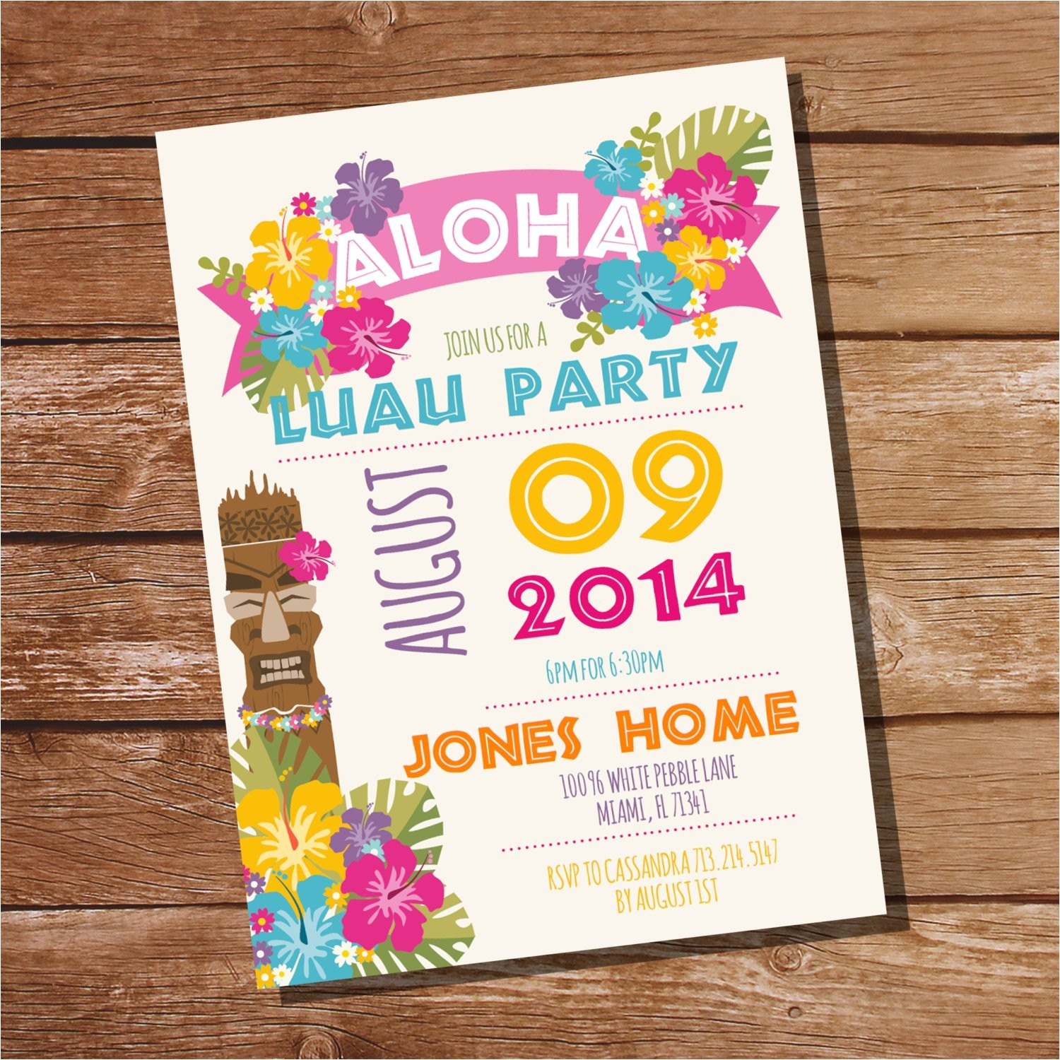 luau party invitation hawaiian party