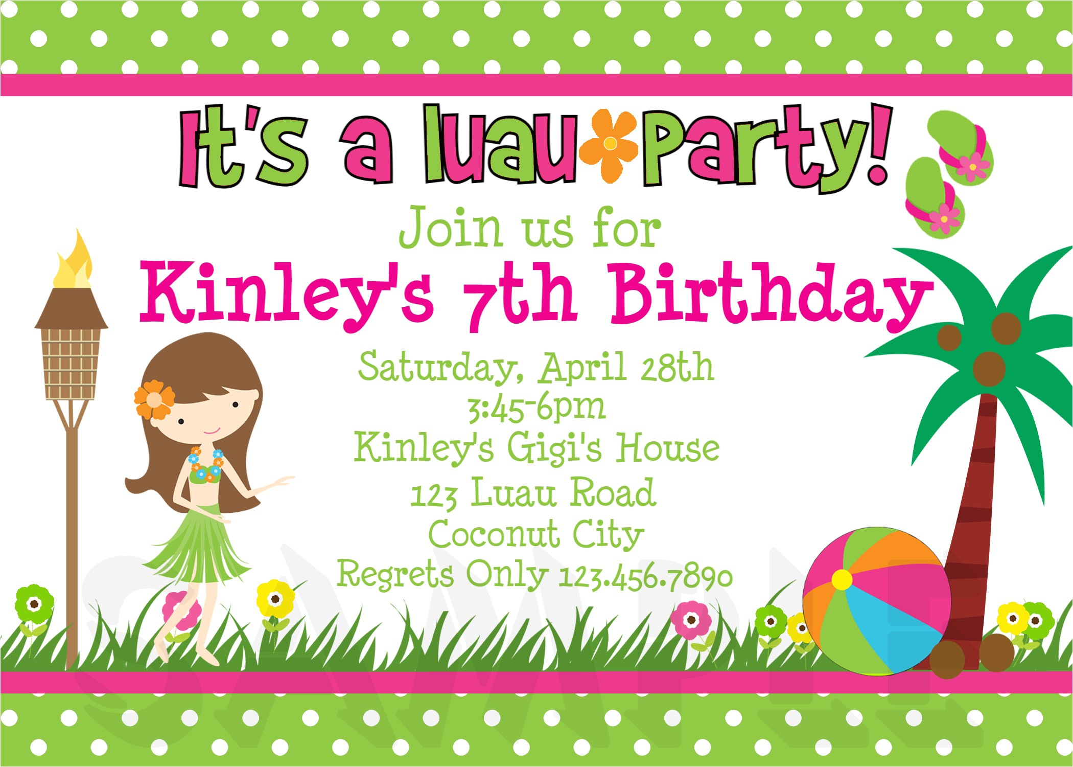 luau girls birthday invitations