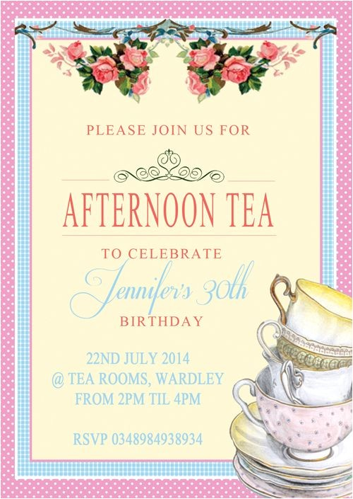 tea cup tower afternoon tea party birthday invitations 3256 p