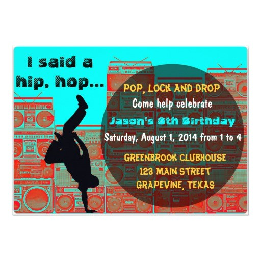 80s boombox break ancing hip hop party invitation 161152529660428335