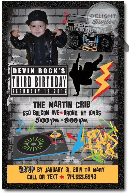 80s rap hip hop birthday invitations p 21