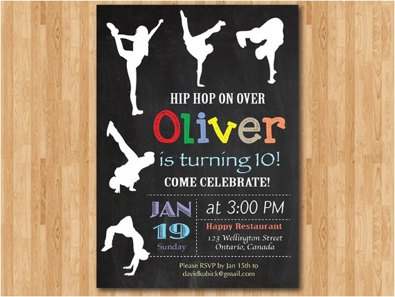 hip hop birthday invitation chalkboard