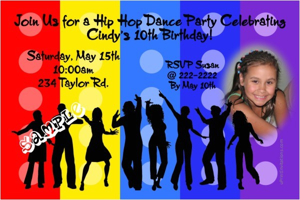 hip hop dance birthday invitation