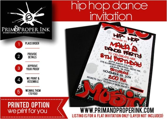hip hop dance party invitations graffiti