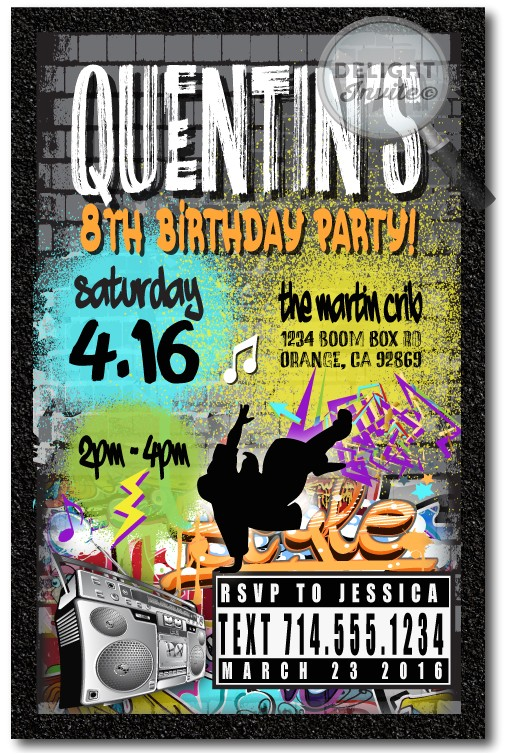 graffiti 80s old school hip hop birthday invitations p 4222