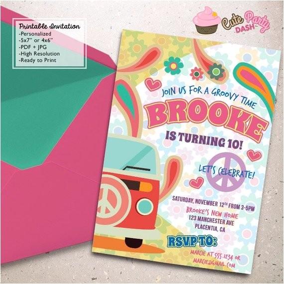 hippie chic birthday party invitations
