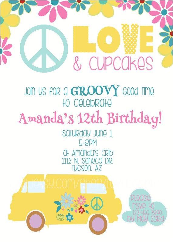 hippie invitations birthday party