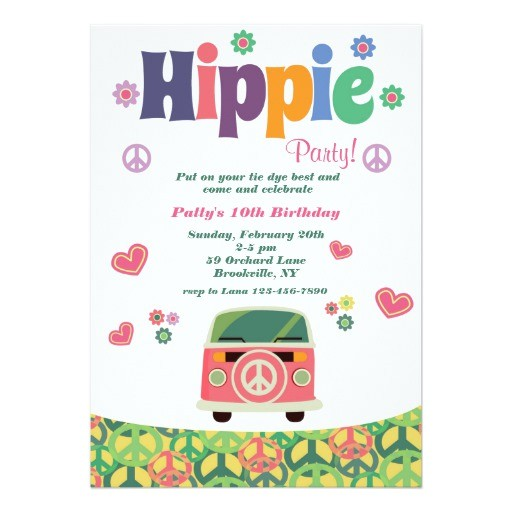 hippie party invitation 256780882192202265