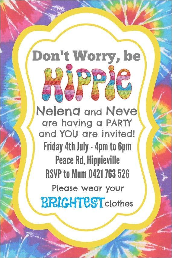 Hippie Invitations Birthday Party Hippie Party Invite Invitation Custom Made Digital