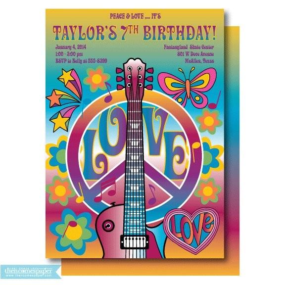 retro birthday invitation hippie
