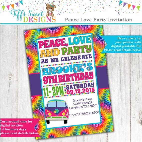 tie dye 60s hippie party invitation