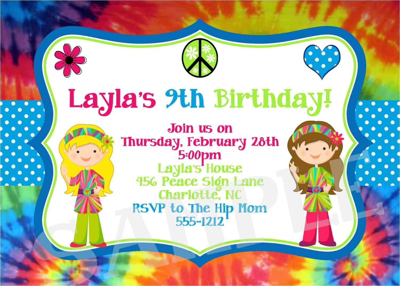 tie dye birthday invitation 70s birthday