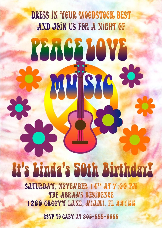 hippie birthday invitation tie dye