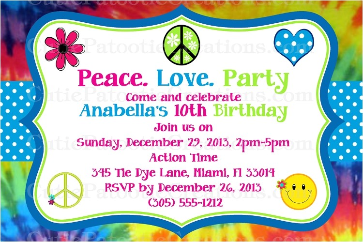 tie dye hippie chick birthday party invitations printable or printed p 2853