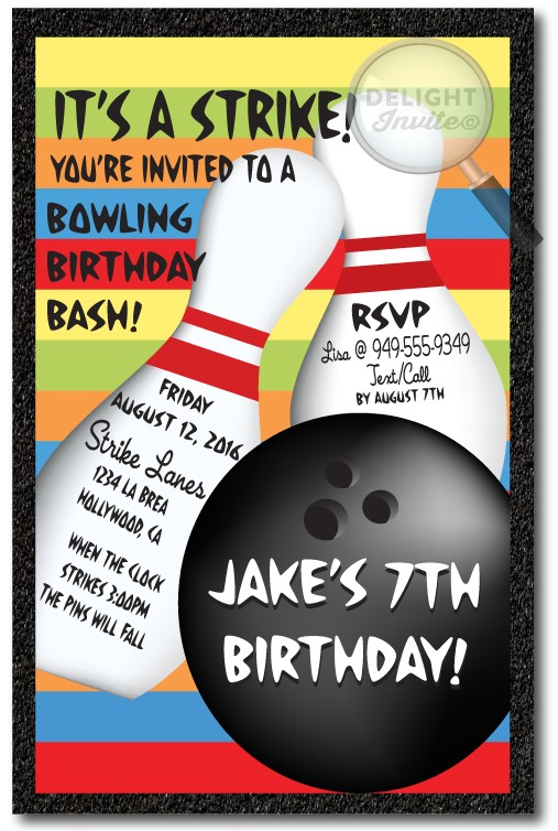 strike out bowling birthday invitation p 152