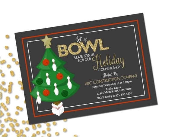 company holiday party invitation bowling