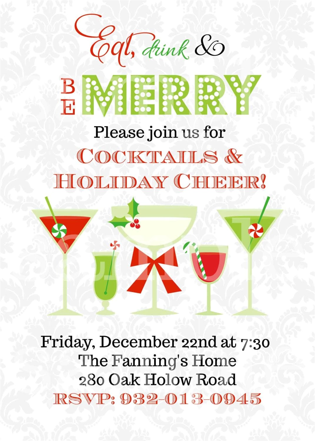 christmas cocktails invitation you print