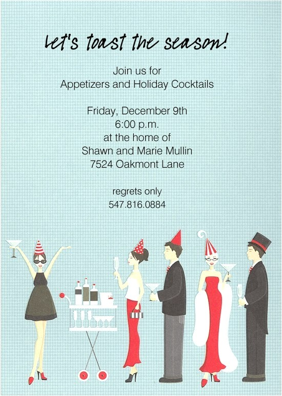 holiday cocktail party invitations wording