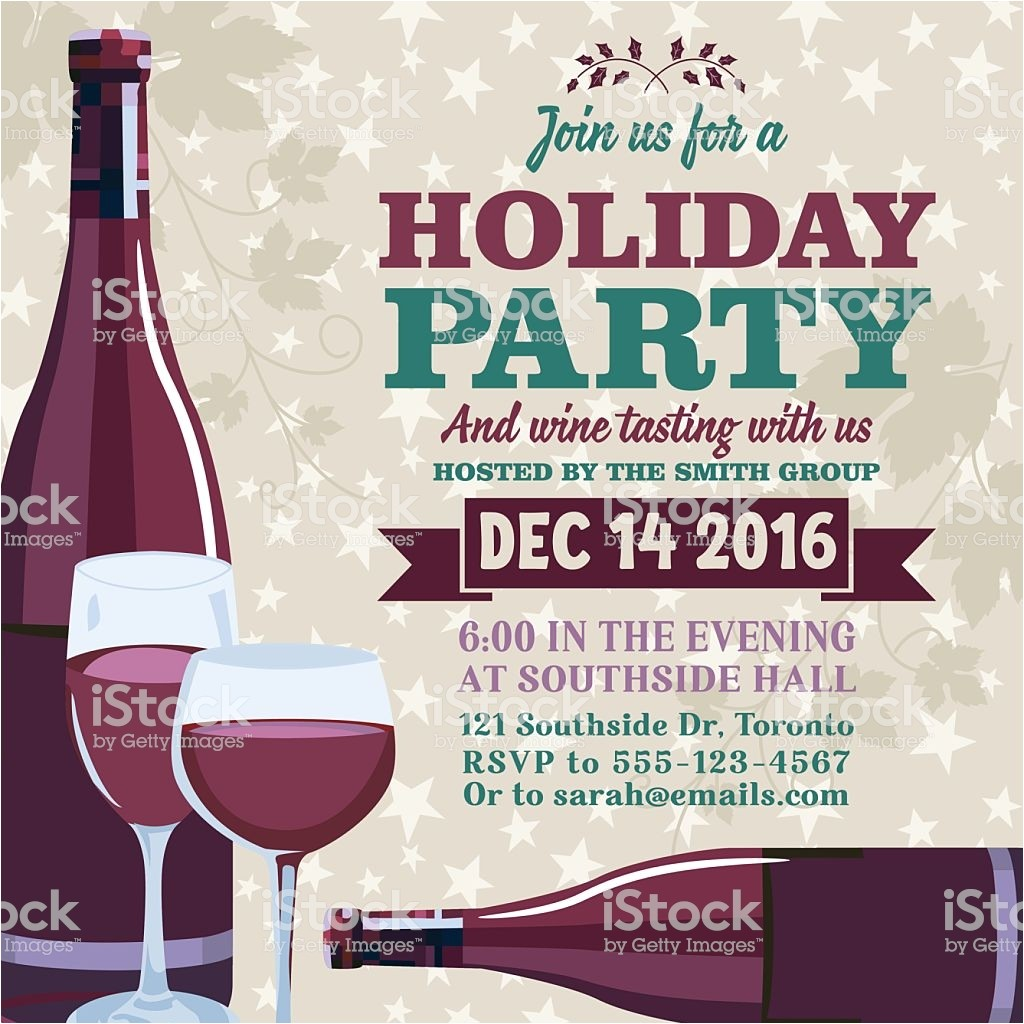 holiday party invitation template with wine tasting gm626816900 110856975