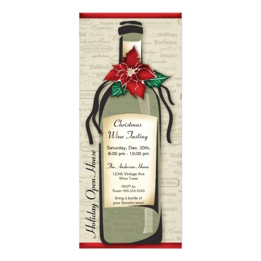 wine varietal and whimsical bottle holiday party invitation 161617958683307576