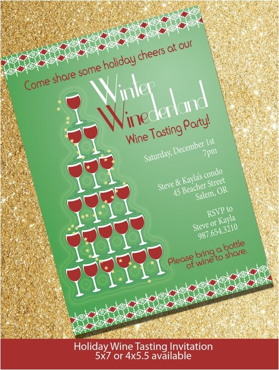 winter winederland holiday wine tasting invitation