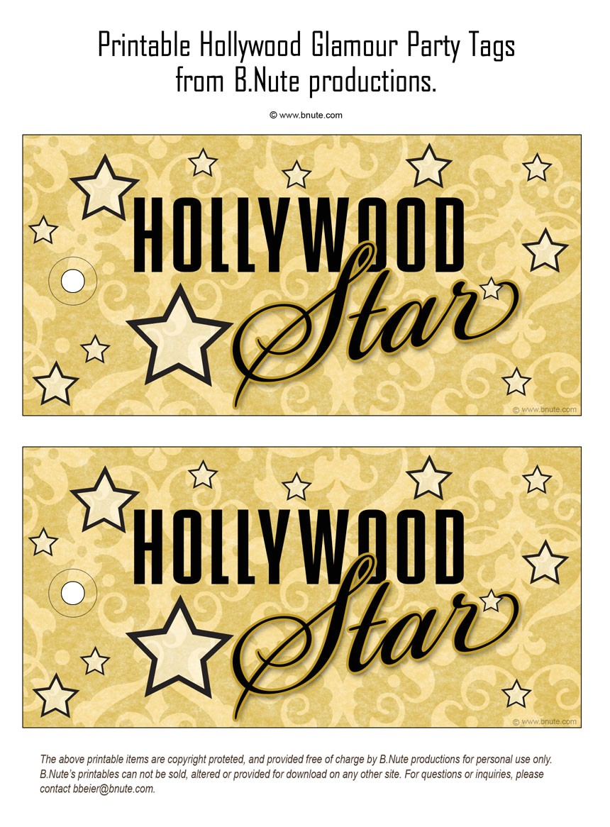 printable hollywood glamour party