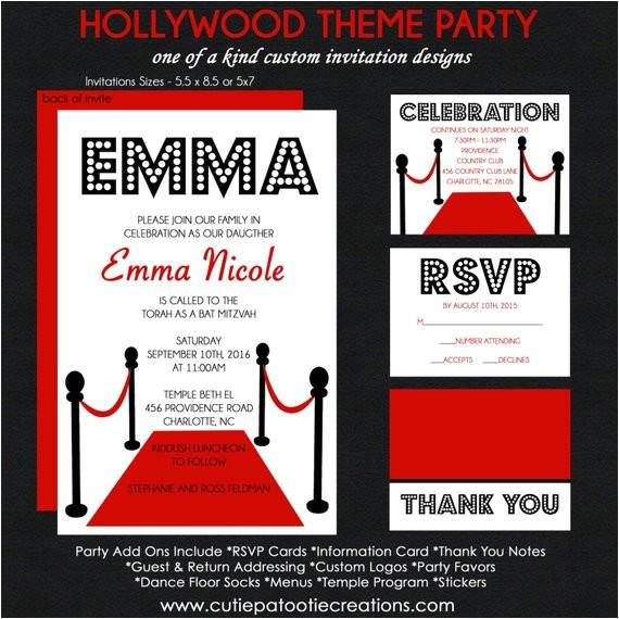 hollywood bat mitzvah invitation red carpet