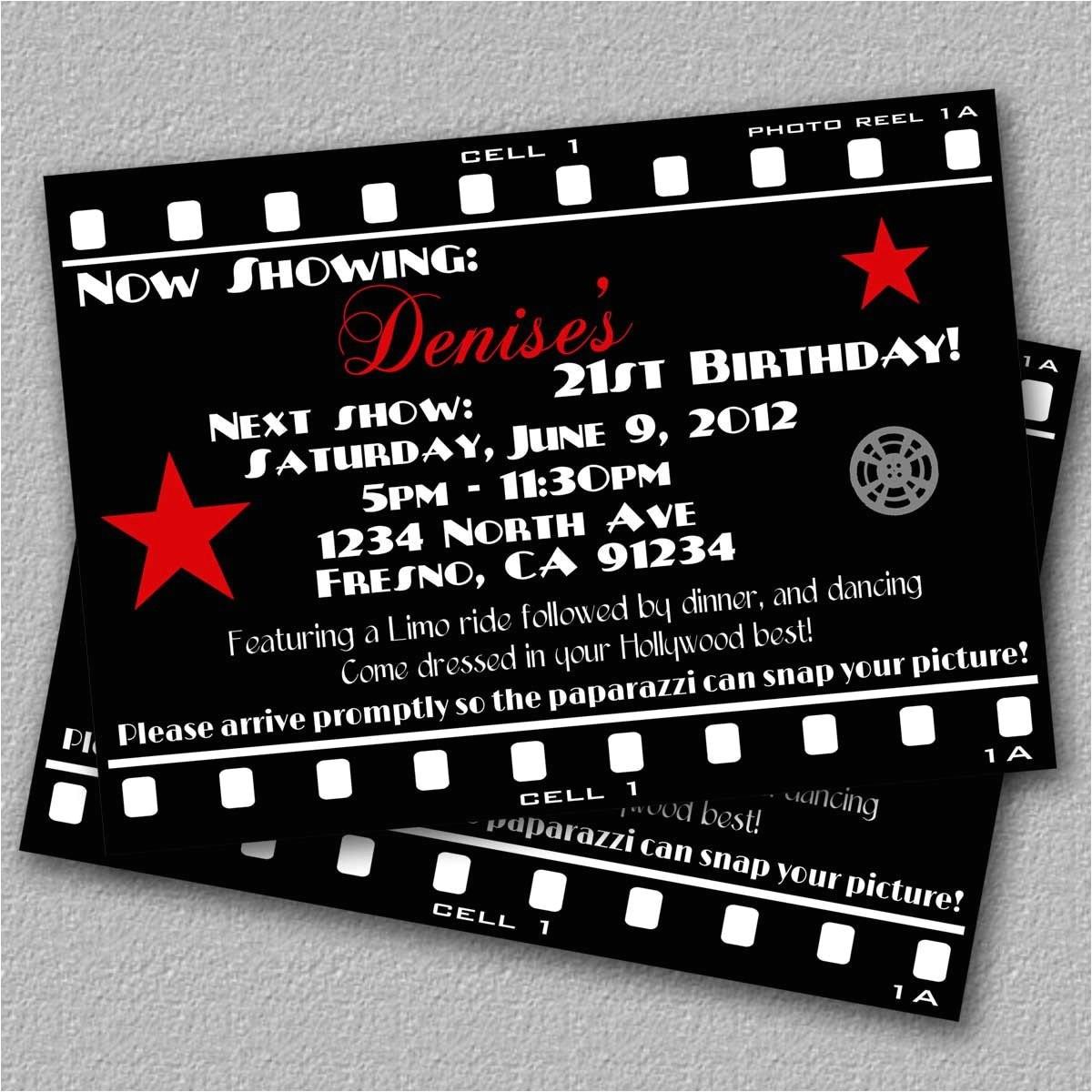hollywood invitation printable movie