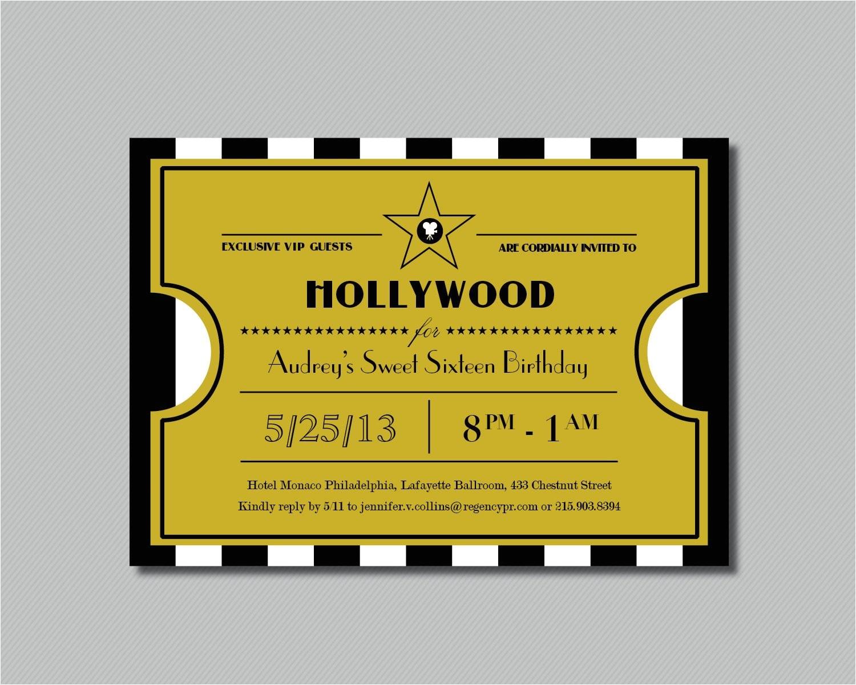 printable hollywood sweet sixteen ticket