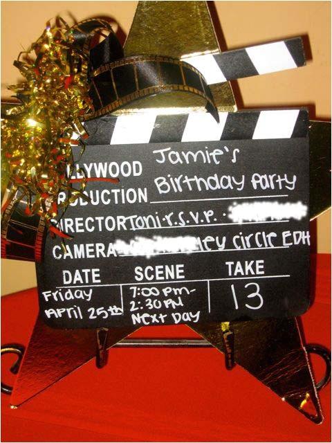 hollywood clapboard birthday invitation
