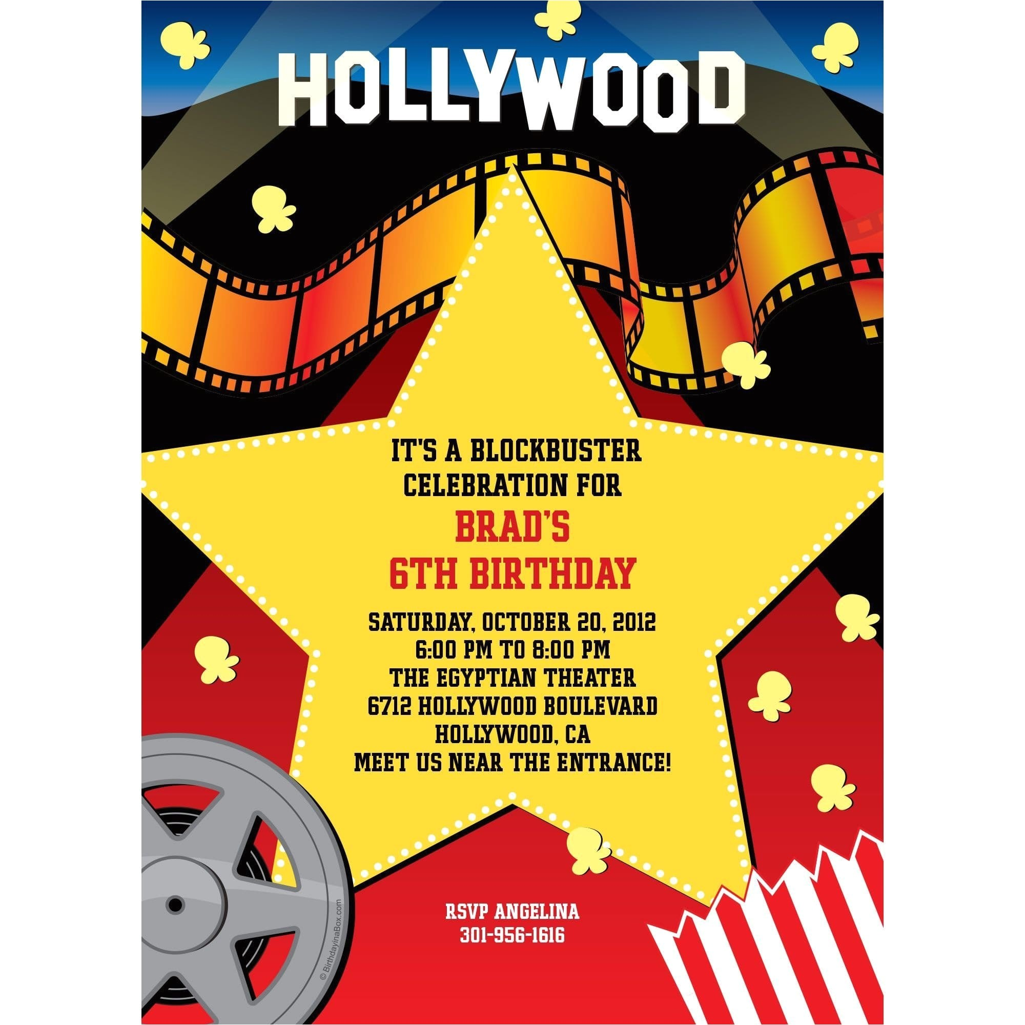 hollywood personalized invitation each