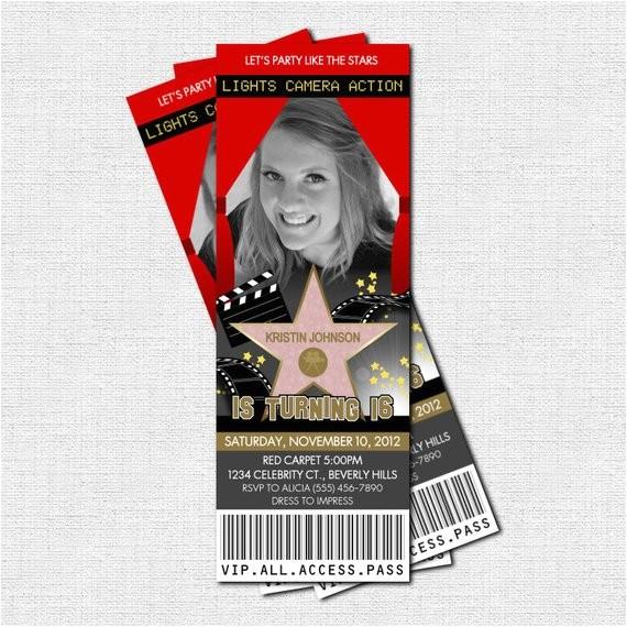 hollywood ticket invitations red carpet