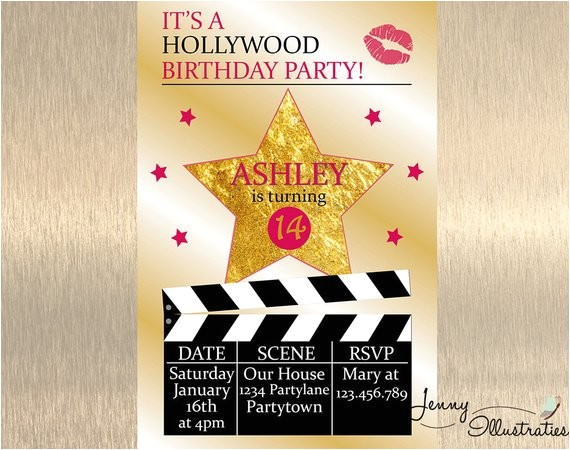 hollywood birthday invitation hollywood